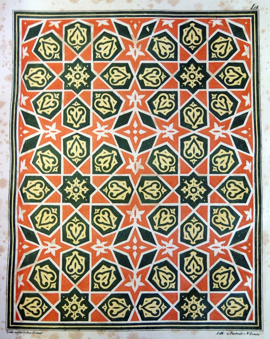 Historic designs and patterns in color from arabic and Italian designs