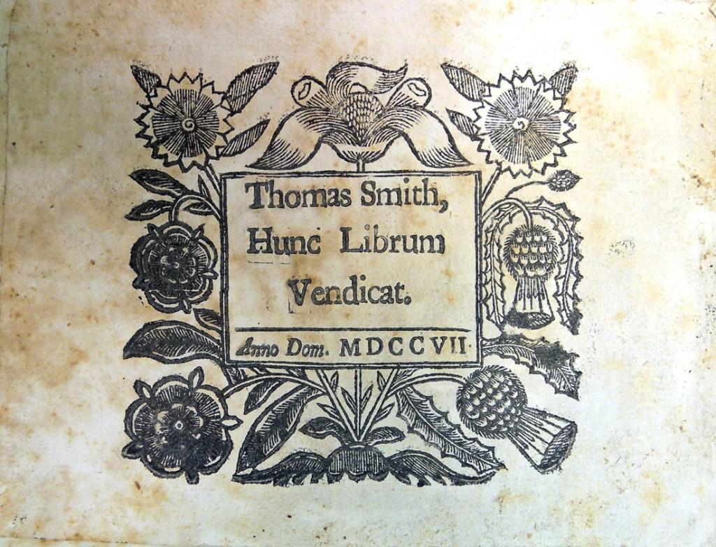 thomas smith bookplate 1707