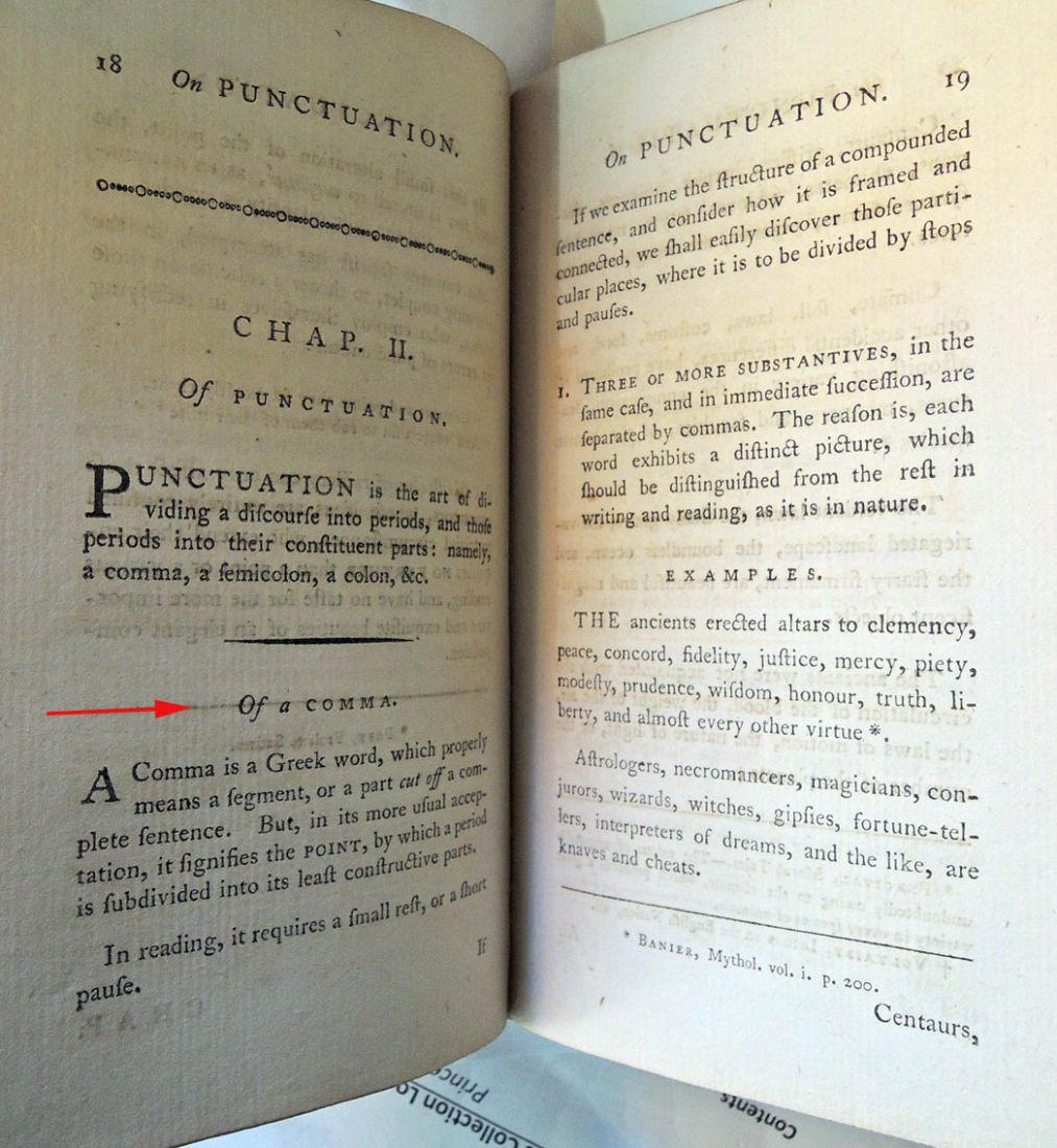 julie mellby graphic arts page  joseph robertson 1726 1802 an essay on punctuation london printed for j walter 1785 rare books ex ts1090 xm8